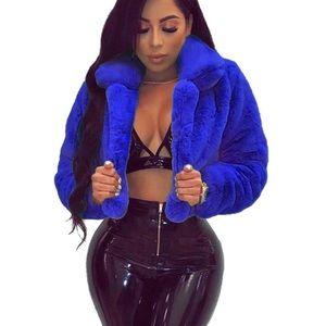 Jackets & Blazers - Royal blue faux fur cropped coat